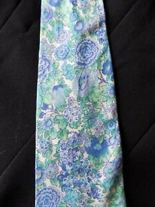 Liberty of London Floral Tie Blue Green White Floral Necktie 56 x 4 archival