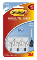 3M Command Clear Utensil Hooks Damage Free Hanging Holds 0.5lb 225g 3pk
