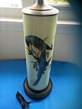 Antique/Vintage  Apple Green  Tall Lamp with Painted  Eagle