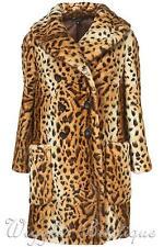 TopShop Women's Faux Fur Knee Length Button Coats & Jackets