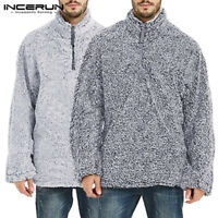 INCERUN Mens Half Zip Fluffy Pullover Fleece High Neck Warm Sweater Sweatshirt
