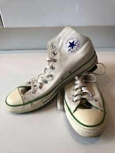 Mens White/Green High Top Converse Lace-up Trainers / Sneakers - UK Size 10