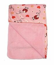 Supersoft Luxurious Pink Velour Pram/Crib Blanket With Piped Edging - Ladybird D