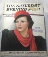 The Saturday Evening Post Jan 1939 Lady in Red Scarf  Streamlined Heart