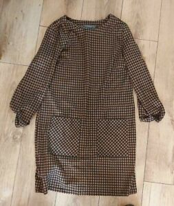 Ladies 'PRIMARK' Black/Brown check long sleeve pocketed midi dress. Size 12. vgc