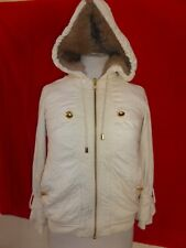 Marc By Marc Jacobs Faux Fur Hoodied Jacket Coat Womens Off- White sz XS