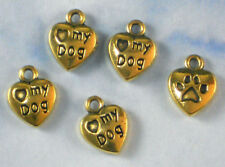 12 Heart Dog Lover Charms 2 Sided Paw Heart Antiqued Gold Tone #P2013