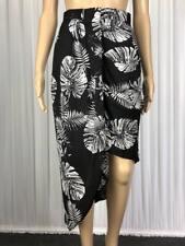 ** PORTMANS ** Sz 8 Black White Leaf Print Asymmetrical Occasion Skirt - (B207)