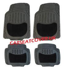 TATA SAFARI  - Black HEAVY DUTY All Weather RUBBER + CARPET Car Floor MATS