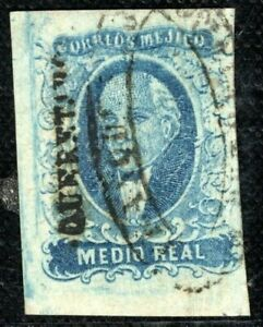 MEXICO Stamp ½r HIDALGO Medio Real 1856 Used Overprint ex Collection PURPLE81