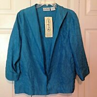 Patchington Blue Silk Jacket size Large Crinkled Silk Women's NWT