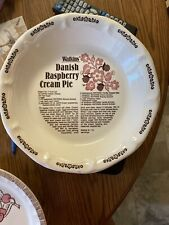 "Vintage Watkins Danish Raspberry Cream Recipe Ceramic 10"" Pie Plate"