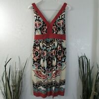 Trulli Dress Sz 12 Sleeveless Floral Empire Waist Belted V Neck