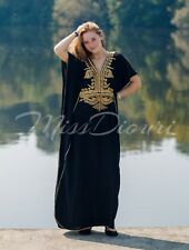Black Moroccan Abaya Kaftan Cotton Maxi Dress With Gold Embroidery One Size