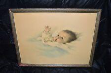 "VTG Bessie Pease Gutmann ""Awakening"" Baby Colored Lithograph Print Framed"