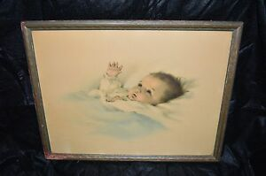 "VTG Bessie Pease Gutmann ""Awakening"" Baby Colored Lithograph Print Framed"
