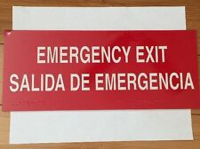 Emergency Exit Sign In English, Spanish & Braille Self Adhering  ***NEW***