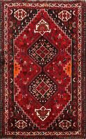 Tribal Hand-knotted Geometric Abadeh Area Rug Wool Oriental Kitchen Carpet 4'x5'