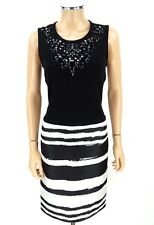 ST JOHN BLACK LABEL Jewels Cocktail Dress SIZE 8 Black White Milano Knits
