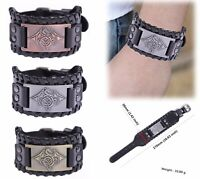VASSAGO Vintage Lucky Bird Raven Crow Totem Leather Talisman Amulet Bracelet for men women