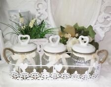verre verrouillable Lot de 3 bonbonnière avec couvercle verre blanc petit panier