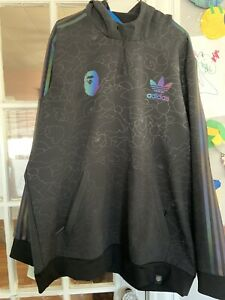 NEW NWT ADIDAS BAPE x TECH Hoodie Size X Large XL Style DU0206 Black Glow Rare