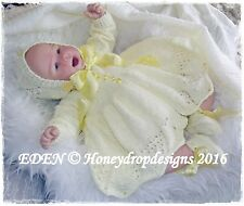 Honeydropdesigns EDEN (3 Sizes 0-12mths) * PAPER KNITTING PATTERN * Reborn/Baby