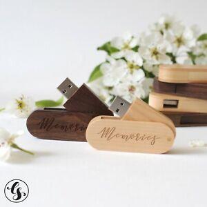 Memory Stick Pen Drive 64GB USB 2.0 Flash Wooden Box Custom Wood