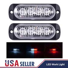 2PCS 4 LED 12W Truck Emergency Warning Hazard Flash Strobe Light Lamp Dual Color