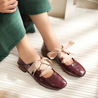 Womens Ladies Trendy Sqaure Toes Patent leather Flats Heels Mary Jane Shoes Supe