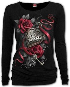 Spiral Direct New Release HEART LOCKET Long Sleeve Viscose,Gothic Roses/Goth/Top