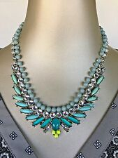 Authentic Signed Ann Taylor LOFT Statement Aqua Cluster Necklace New!