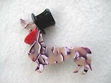 Cute & Fun Multi Colour Lucite? Dog/Daschund With Top Hat Brooch
