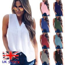 UK Womens Vest Cami Chiffon T Shirt Sleeveless Blouse Ladies V Neck Summer Tops