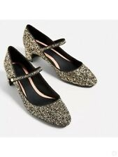 NEW ZARA WOMEN Gold/Black Glitter Mary Jane SZ 6.5 SZ 37 EUR