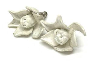 Vintage Artisan White Flower Pierced Earrings