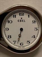 Rare EBEL LOUPE Pocket Watch Alarm Clock - Stainless, Swiss Quartz - Works Great