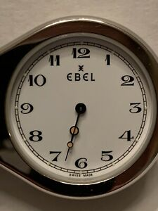 Rare EBEL LOUPE Pocket Watch Alarm Clock - Stainless, Swiss Quartz - Works Great