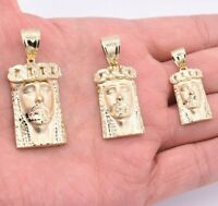Jesus Head Miami Cuban Pendant Diamond Cut Real SOLID 10K Yellow Gold