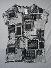 BNWT Black/White paisley/geo print cold shoulder cap sleeve  stretch tunic UK 12