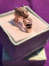Gems Green Gem For Eyes New In Gift Gold Metal Cat Head Ring With Diamonti Style