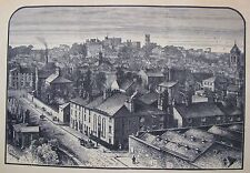 """ANTIQUE ENGRAVING PRINT """"VIEW OF LANCASTER"""" ENGLAND C 1886 A"""