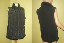 CHICOS sz 3 (XL) Black Fur Trim & Lined VEST JACKET