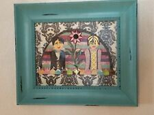 Mixed Meida Paper Folk Art On Canvas With Frame 12 X 14