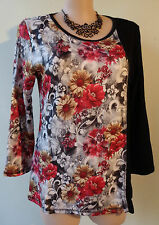 size 10 EVERSUN New Black red white yellow floral design top NWT long sleeves