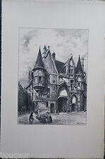ALBERT ROBIDA - Hôtel de SENS - Belle Grande Lithographie originale Yonne