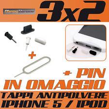 TAPPO/STOPPER ANTI-POLVERE KIT CUFFIE/DOCK PER IPHONE 5 / IPOD + PIN IN OMAGGIO