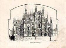 Stampa antica MILANO Facciata del Duomo e piazza con carrozze 1892 Old print
