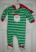 Carters CHRISTMAS SLEEPER Baby Infant Zip Up Santa's Elf Footed Hat Size 3m NEW