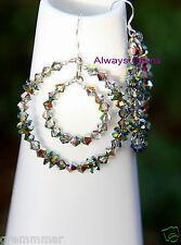 Double Hoops earrings made with Swarovski Vitrail Medium crystals  925S hooks